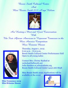 Meet and Greet - Miss Tennessee Brianna Mason @ Bessie Smith Cultural Center